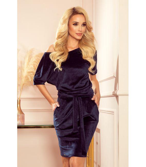 249-5 CASSIE - welurowa sukienka z krótkim rękawkiem - GRANATOWA