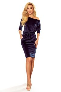 13-130 Sukienka sportowa z wiązaniem i kieszonkami - WELUROWA - GRANATOWA