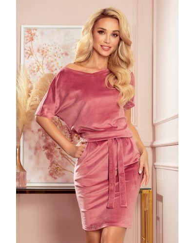 249-4 CASSIE - welurowa sukienka z krótkim rękawkiem - BRUDNY RÓŻ
