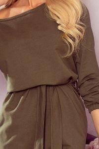 344-1 Sukienka oversize ze ściągaczem i paskiem - kolor KHAKI