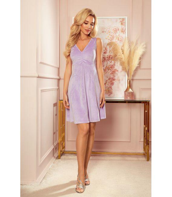 238-3 BETTY rozkloszowana welurowa sukienka z dekoltem - WRZOS