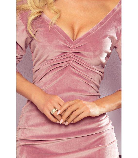 345-1 NAOMI drapowana welurowa sukienka z dekoltem - BRUDNY RÓŻ
