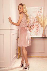 296-7 VICTORIA Trapezowa sukienka - WELUR - BRUDNY RÓŻ
