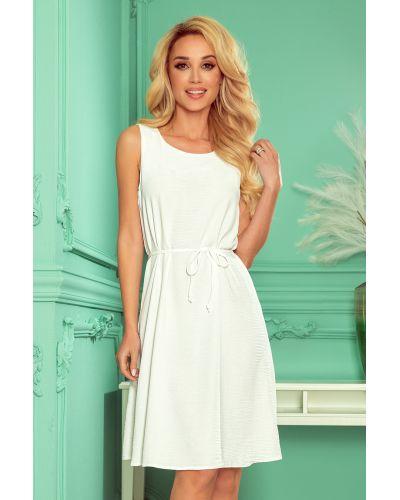 296-4 VICTORIA Trapezowa sukienka - kolor ECRU