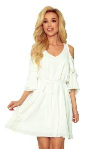 292-4 MARINA zwiewna sukienka z dekoltem - ECRU