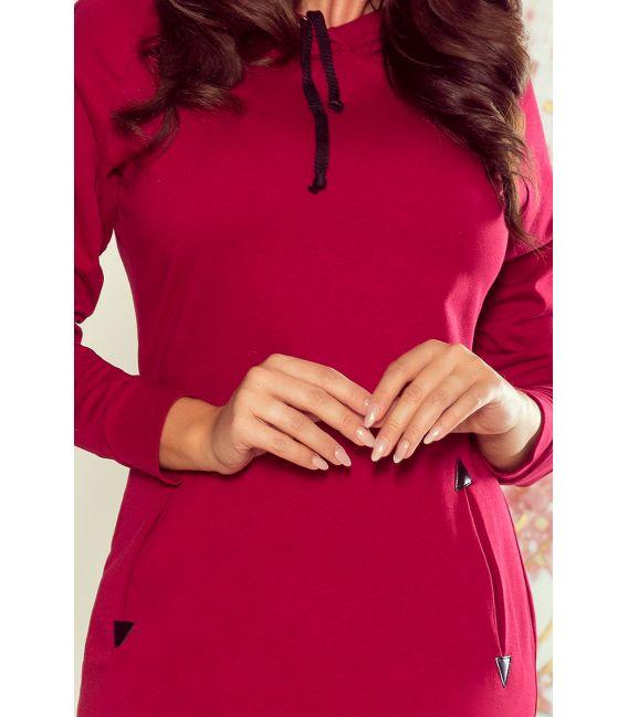 260-1 ELSA Bordowa sukienka z kapturem