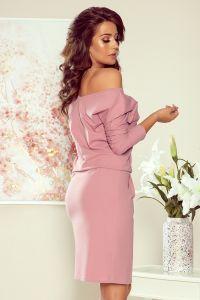 189-10 Sukienka dresowa z dekoltem na plecach - CIEMNY BRUDNY RÓŻ