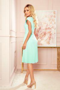 311-9 LILA Plisowana sukienka z krótkim rękawkiem - MIĘTA