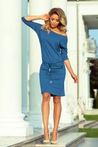 13-133 Sukienka sportowa z wiązaniem i kieszonkami - JEANS wiskoza