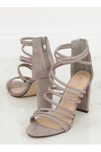 Sandałki na obcasie szare AT-0662-L GREY