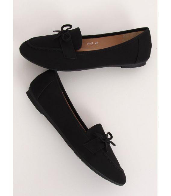Mokasyny damskie czarne 98-30 BLACK