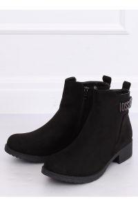 Botki damskie zamsz czarne 1210D-PA BLACK